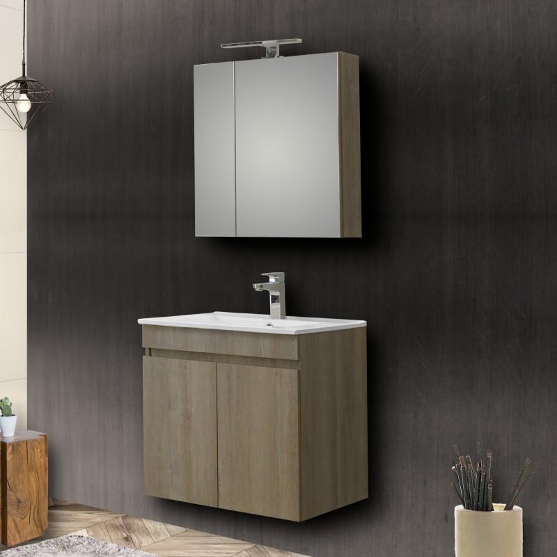 Σετ μπάνιου Omega καθρέπτης νιπτήρας ντουλάπια