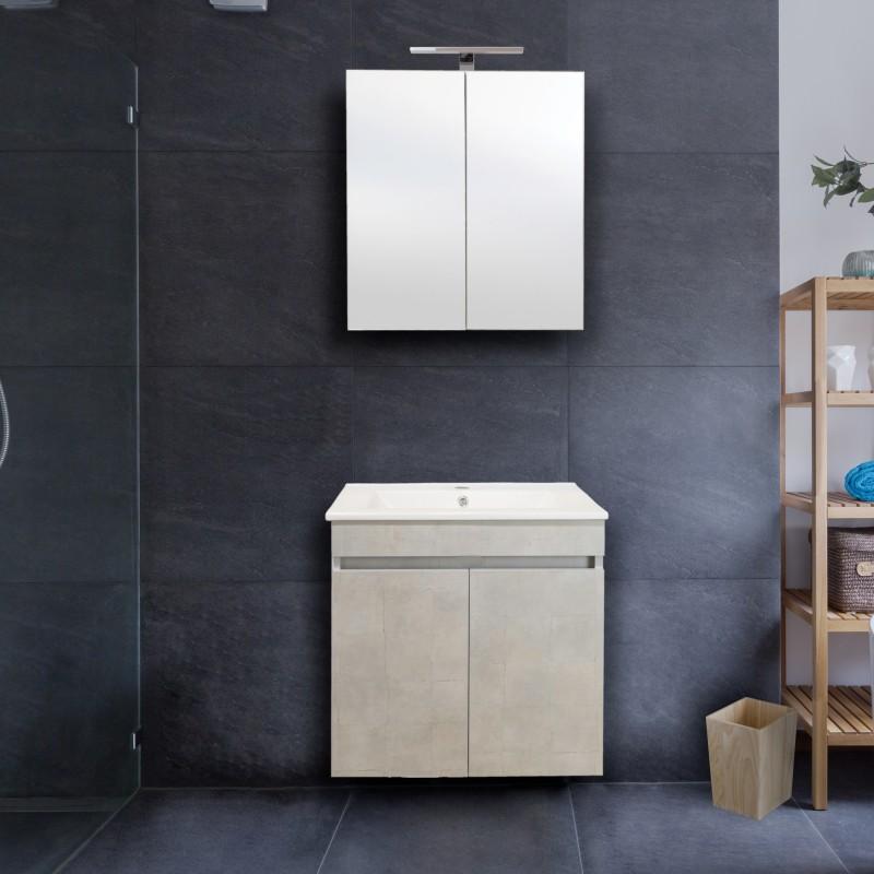Σετ μπάνιου Savina καθρέπτης νιπτήρας ντουλάπια
